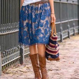 Sundance New Boho Embroidery Blue Mesh Skirt